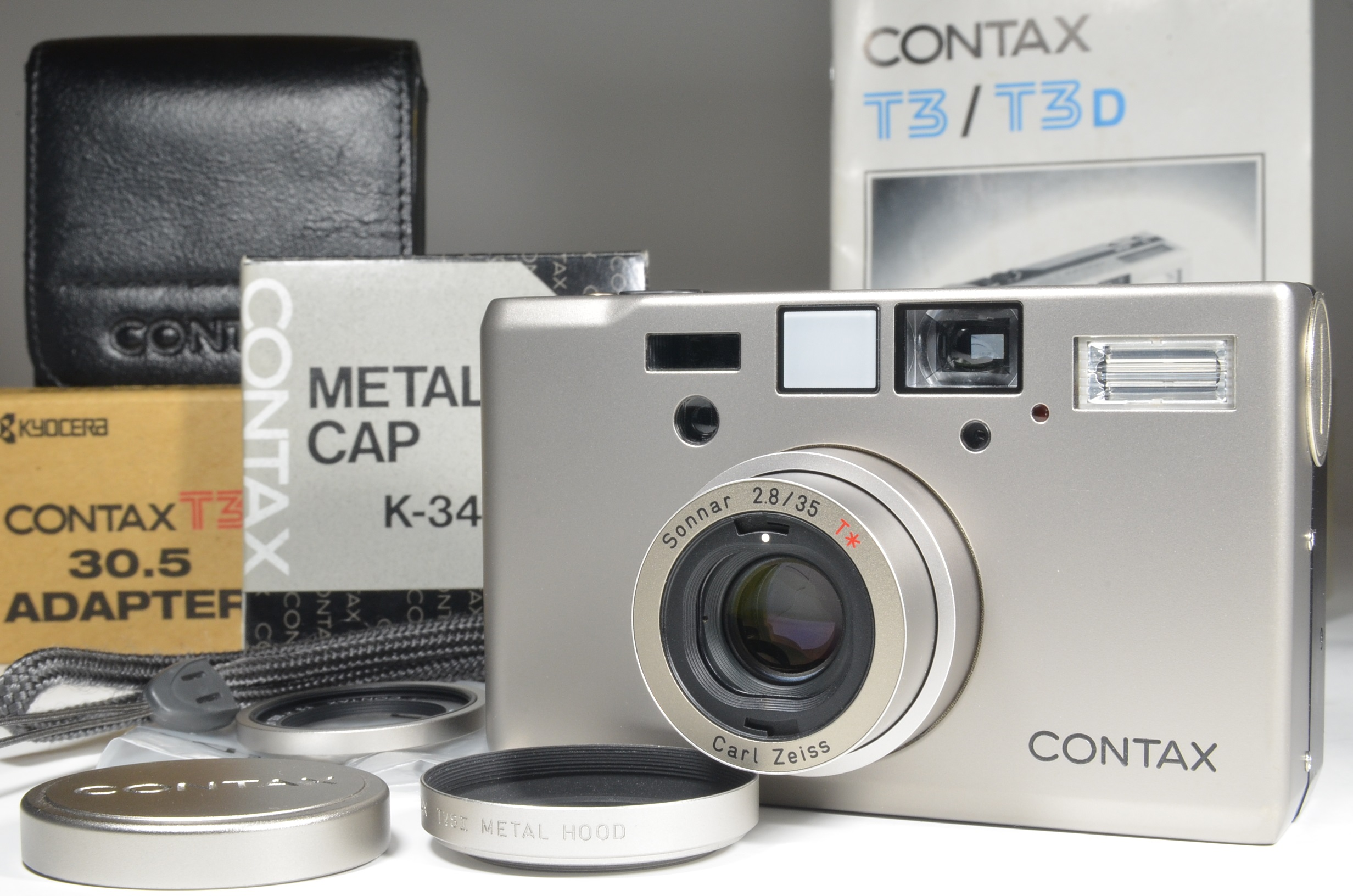 contax t3 with 30.5 adapter and metal hood k-34