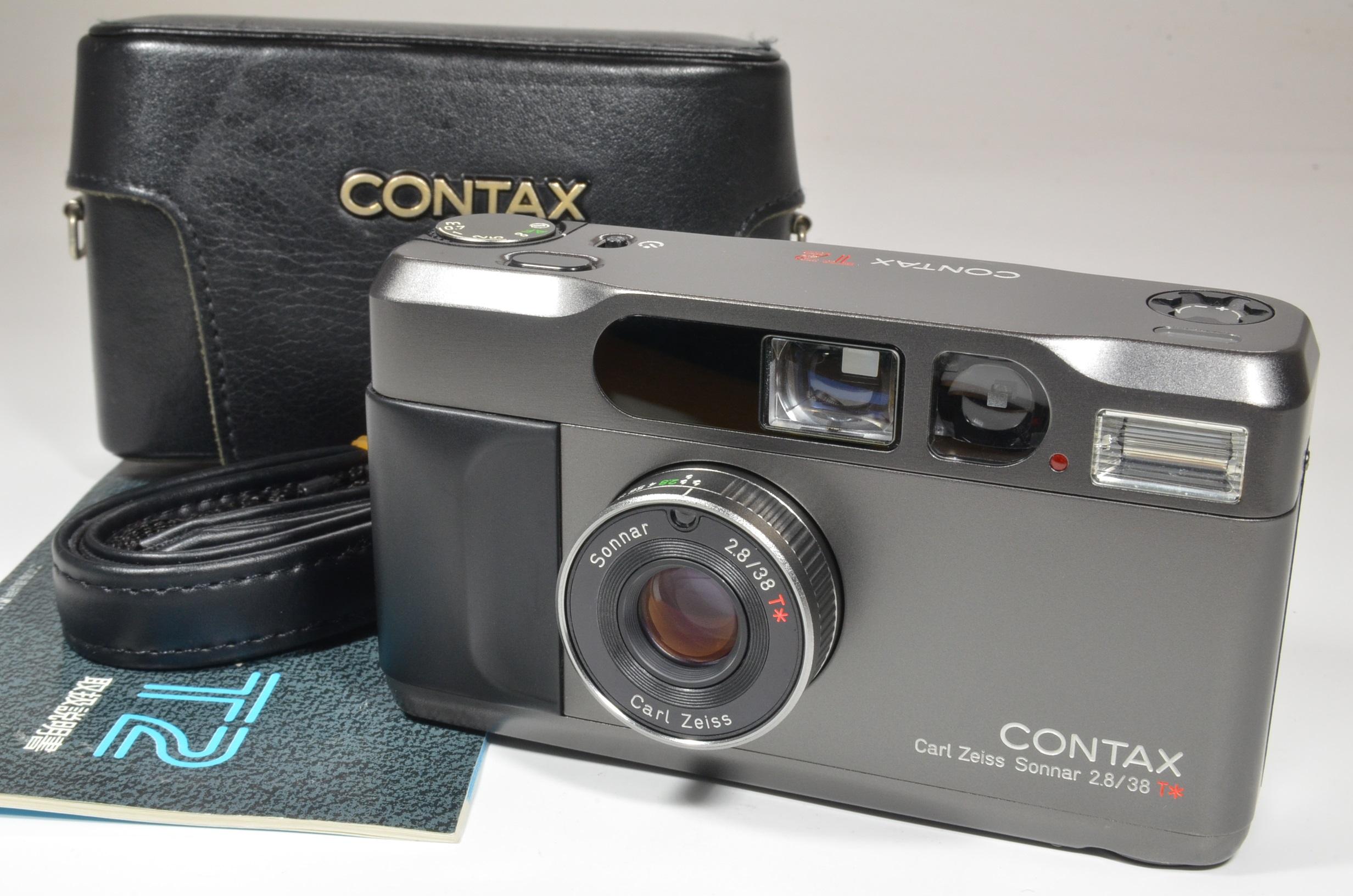 contax t2 titanium black film camera with full leather case