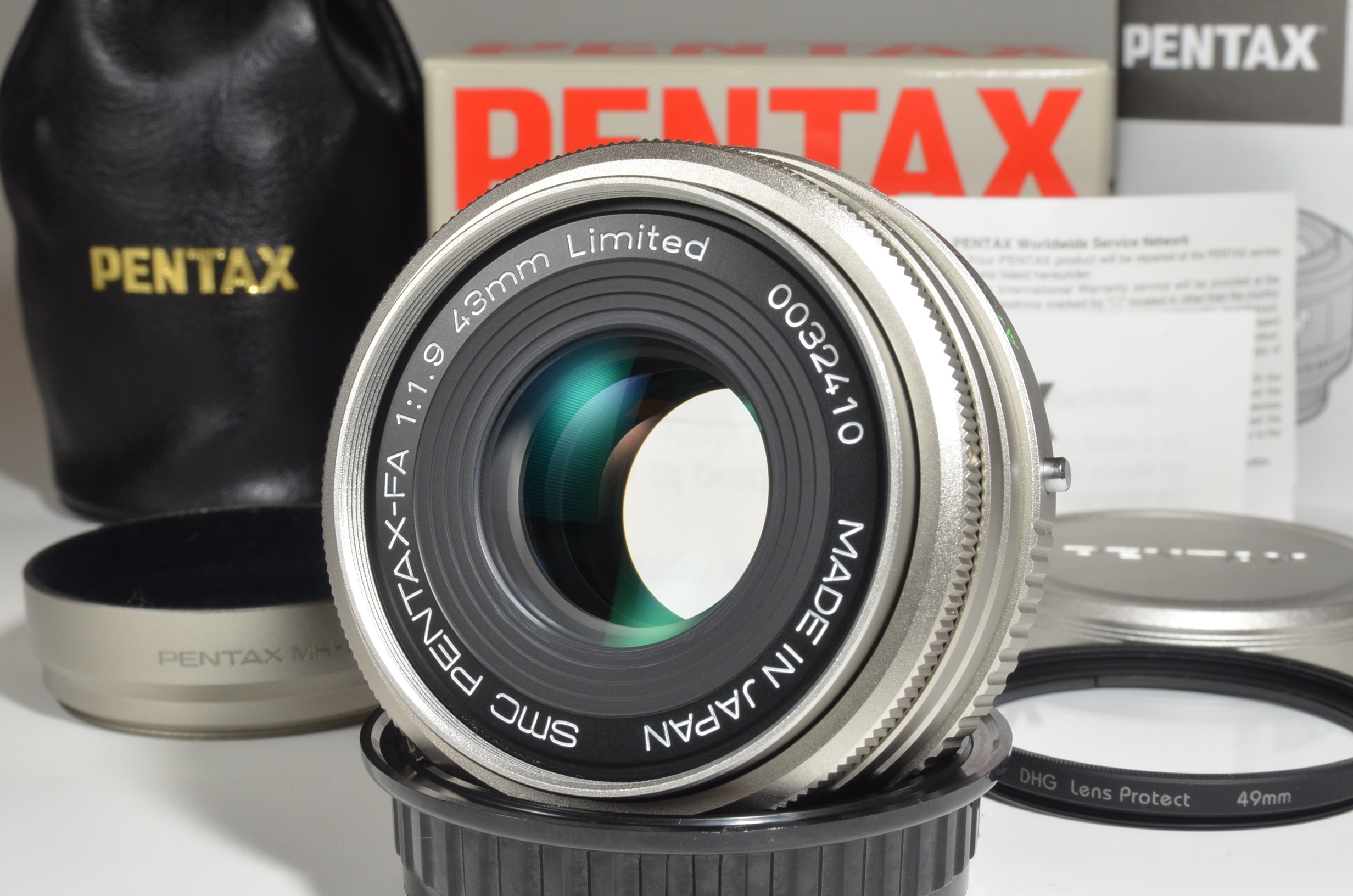 pentax smc fa 43mm f1.9 silver limited lens made in japan rare!